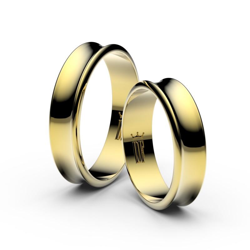 Snubní prsteny ze žlutého zlata, 5 mm, konkávní, pár - 5A50