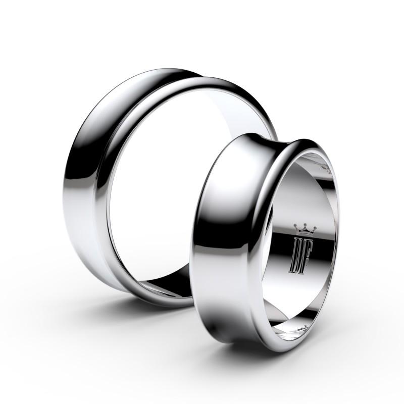 Snubní prsteny ze stříbra, 6.65 mm, konkávní, pár - 5B70