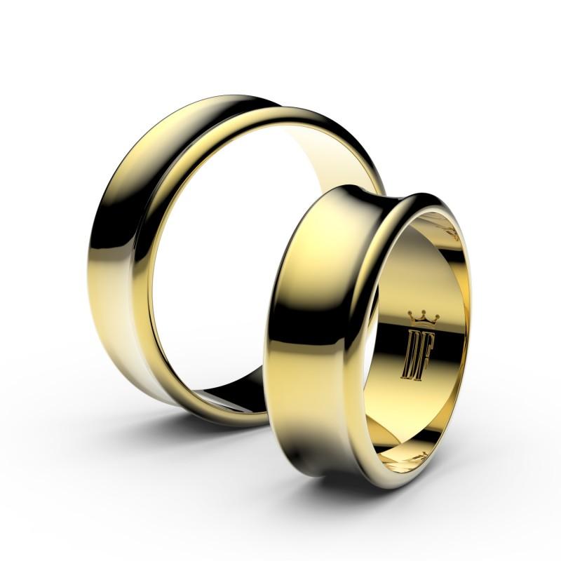 Snubní prsteny ze žlutého zlata, 6.65 mm, konkávní, pár - 5B70