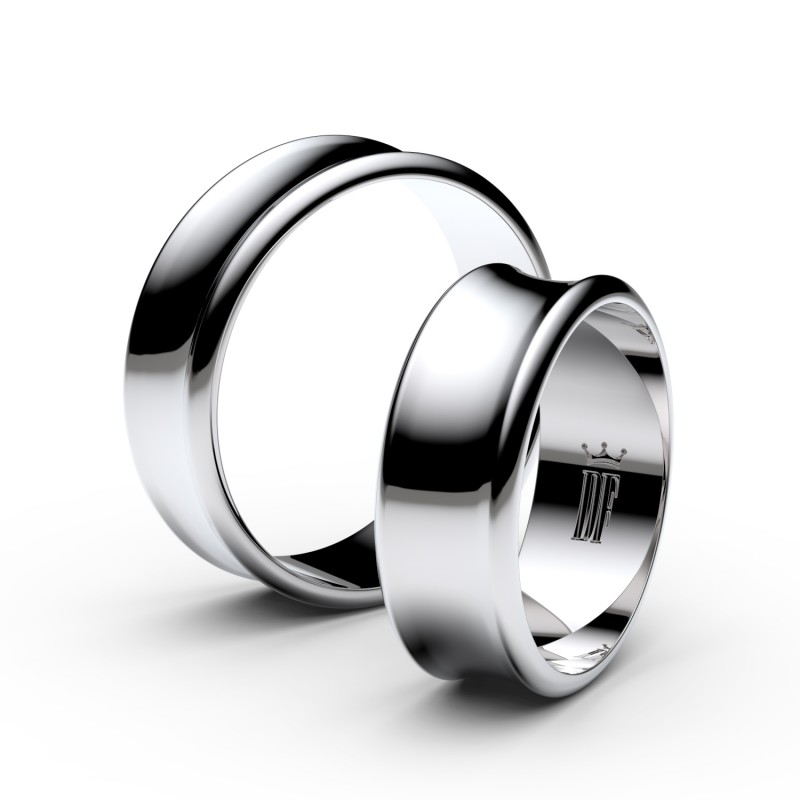 Snubní prsteny z bílého zlata, 6.65 mm, konkávní, pár - 5B70