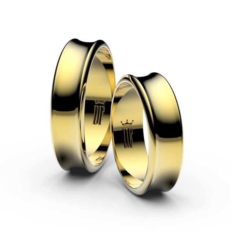 Snubní prsteny ze žlutého zlata, 5.6 mm, konkávní, pár - 5C57