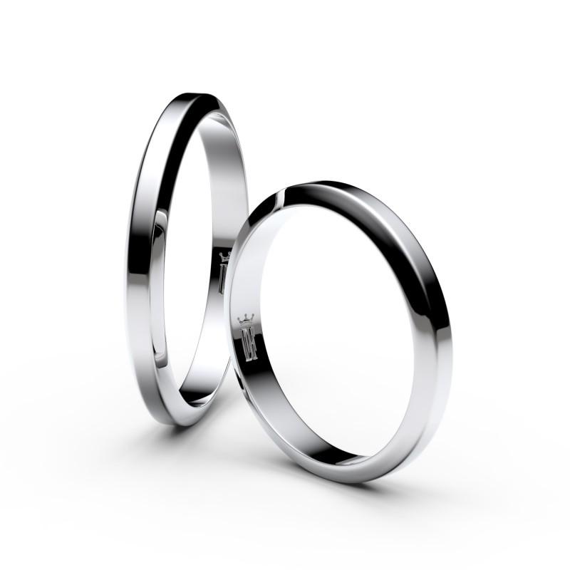 Snubní prsteny z bílého zlata, 2.7 mm, lichoběžný, pár - 6A30