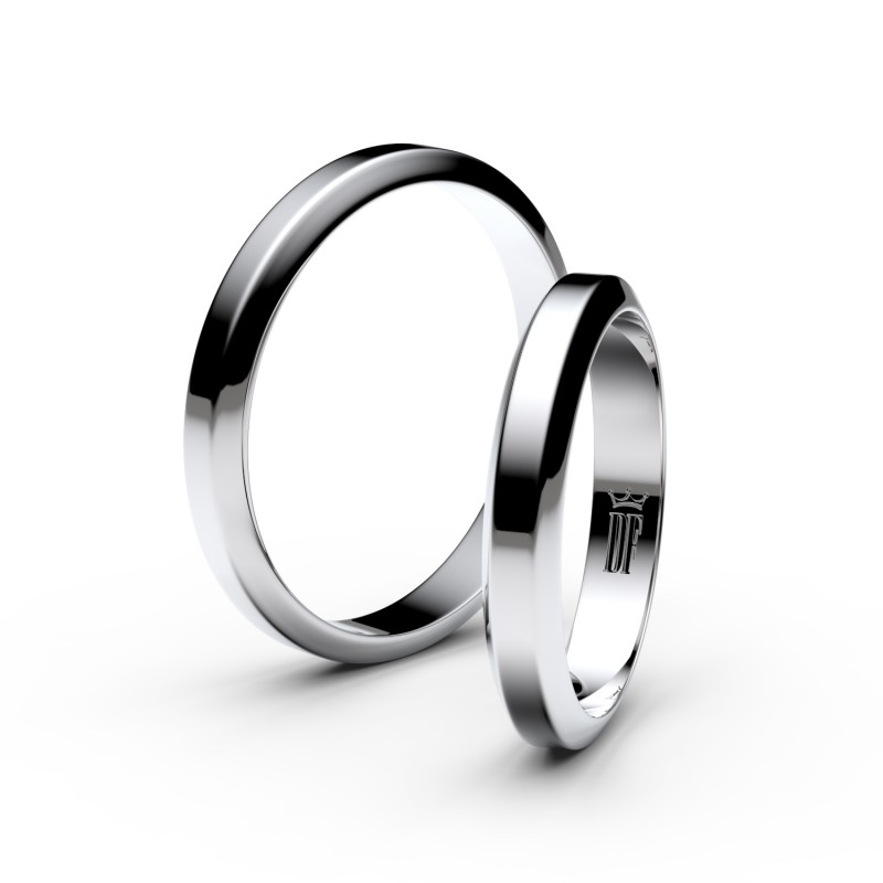 Snubní prsteny z bílého zlata, 3.15 mm, lichoběžný, pár - 6B32