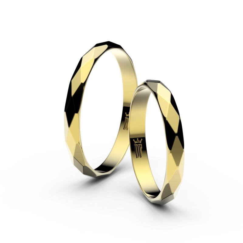 Snubní prsteny ze žlutého zlata, půlkulatý, pár - 8B30