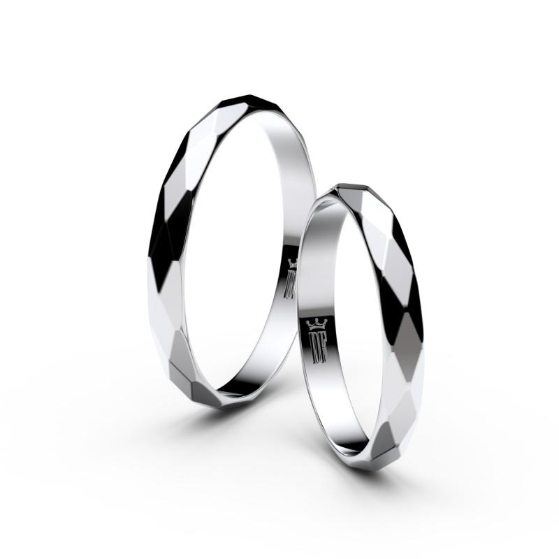 Snubní prsteny z bílého zlata, půlkulatý, pár - 8B30