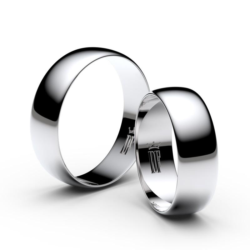 Snubní prsteny z bílého zlata, 6 mm, půlkulatý, pár - 9A60