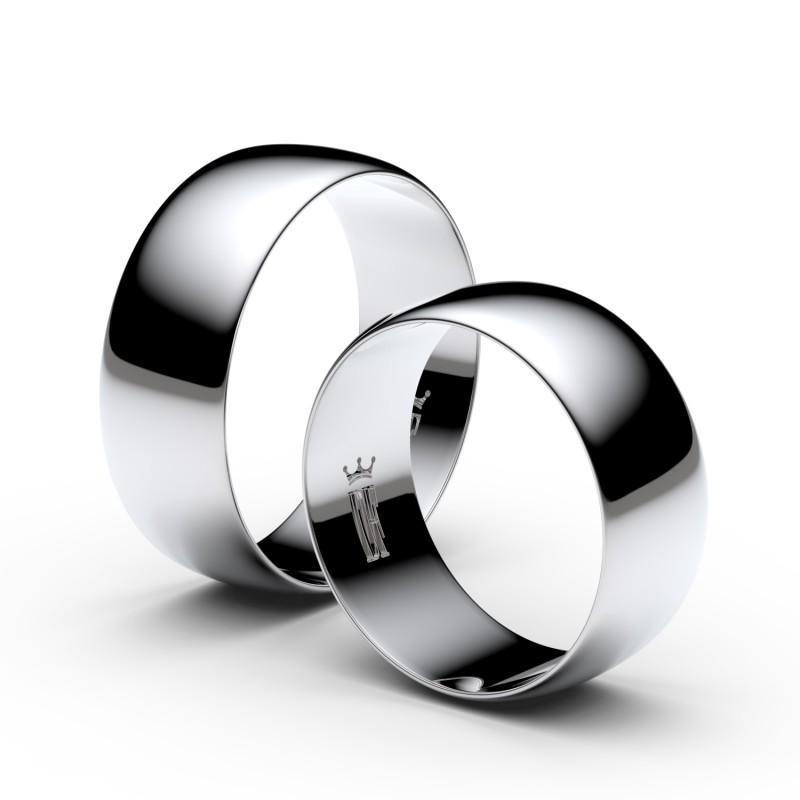 Snubní prsteny ze stříbra, 7.5 mm, půlkulatý, pár - 9B80
