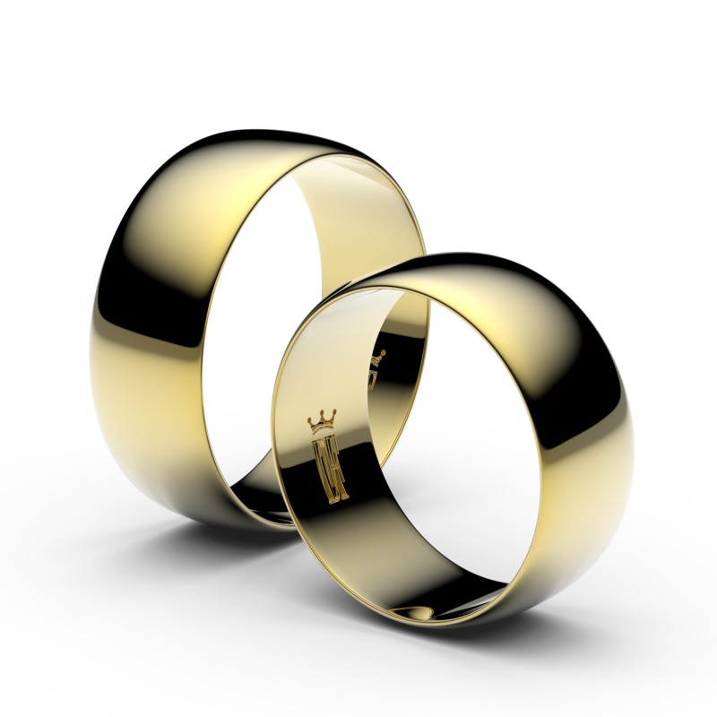 Snubní prsteny ze žlutého zlata, 7.5 mm, půlkulatý, pár - 9B80