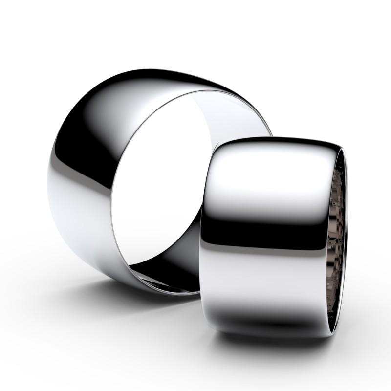 Snubní prsteny ze stříbra, 11 mm, půlkulatý, pár - 9C110