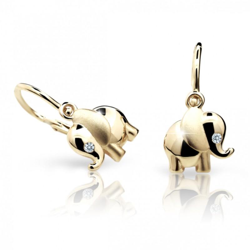 Danfil Dětské náušničky Cutie sloni C1955 ze žlutého zlata