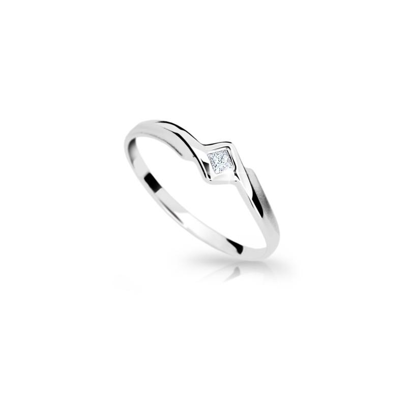 Danfil Zlatý prsten DF 1113 z bílého zlata, s briliantem