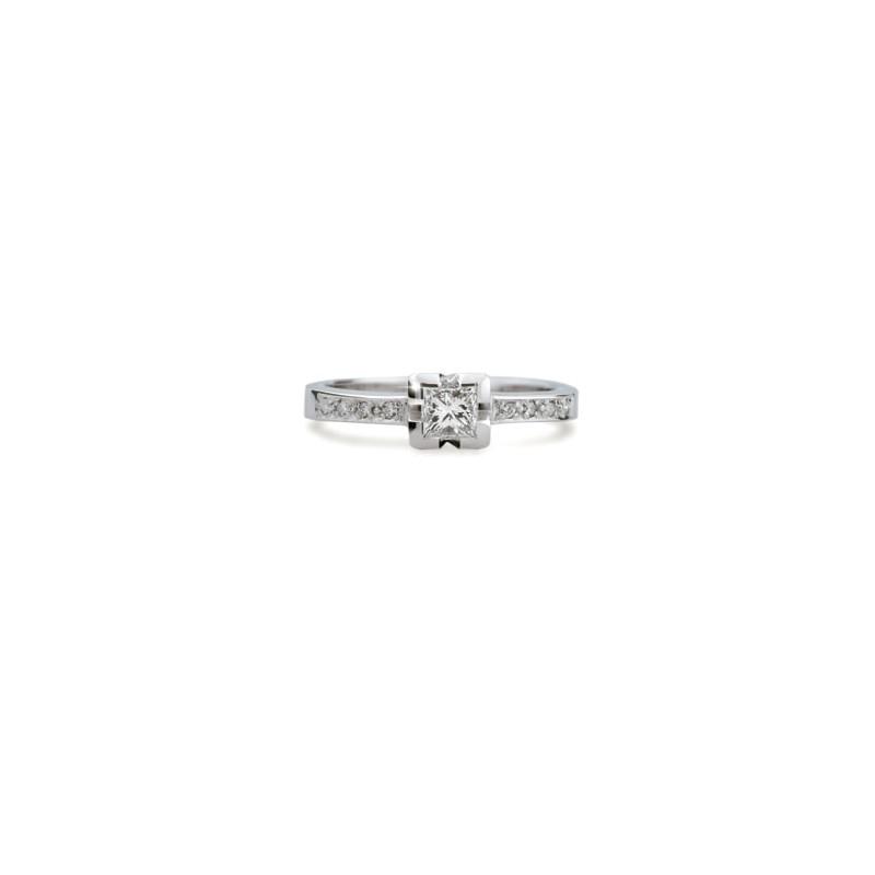 Danfil Zlatý zásnubní prsten DF 1645, bílé zlato, s diamantem