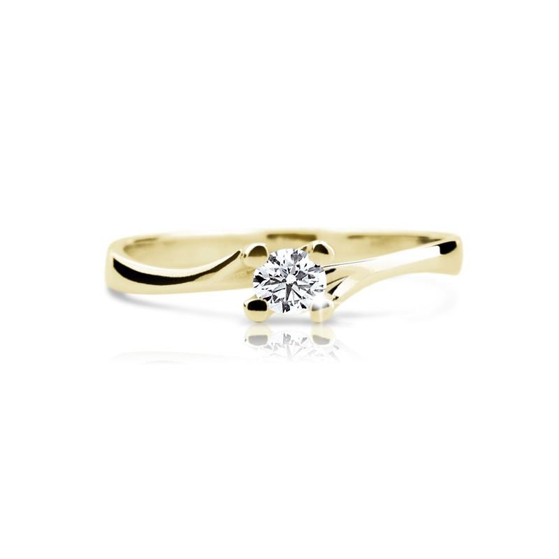 Danfil Zlatý zásnubní prsten DF 1855, žluté zlato, s briliantem