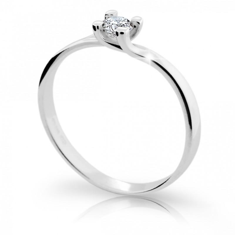 Danfil Zlatý zásnubní prsten DF 1855, bílé zlato, s briliantem