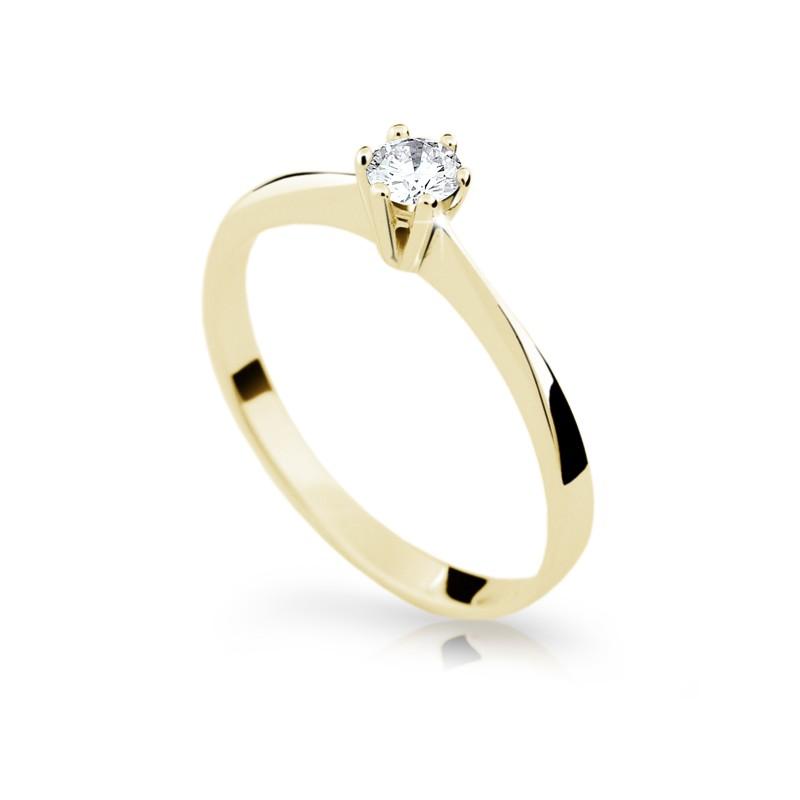 Danfil Zlatý zásnubní prsten DF 1877, žluté zlato, s briliantem