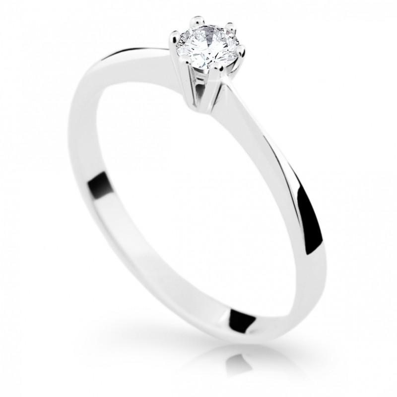 Danfil Zlatý zásnubní prsten DF 1877, bílé zlato, s briliantem