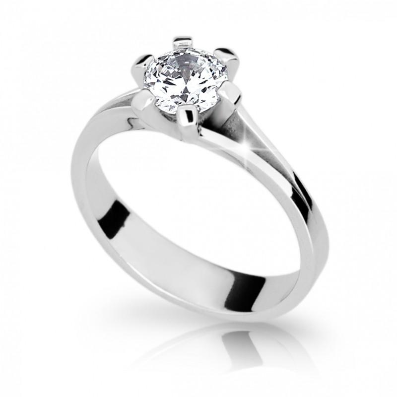 Danfil Zlatý zásnubní prsten DF 1878, bílé zlato, s diamantem