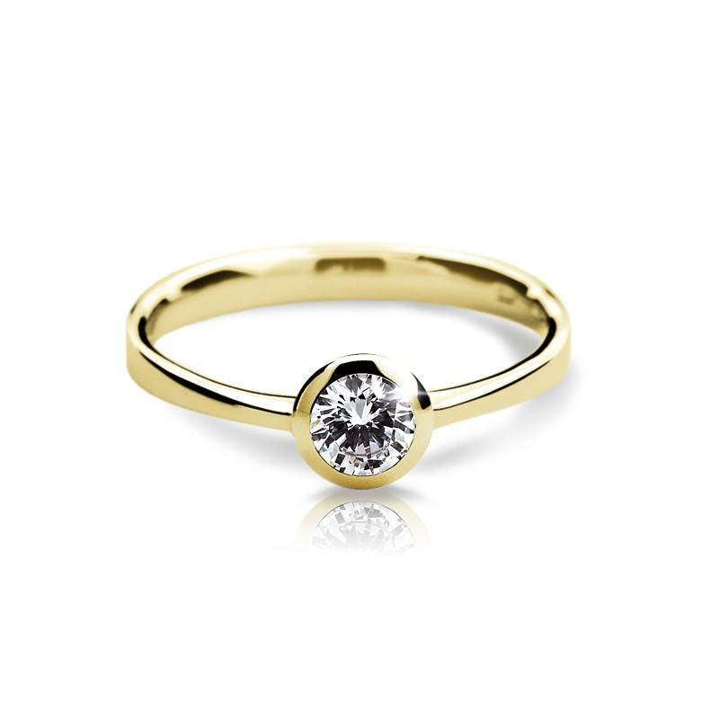Danfil Zlatý zásnubní prsten DF 1883, žluté zlato, s diamantem