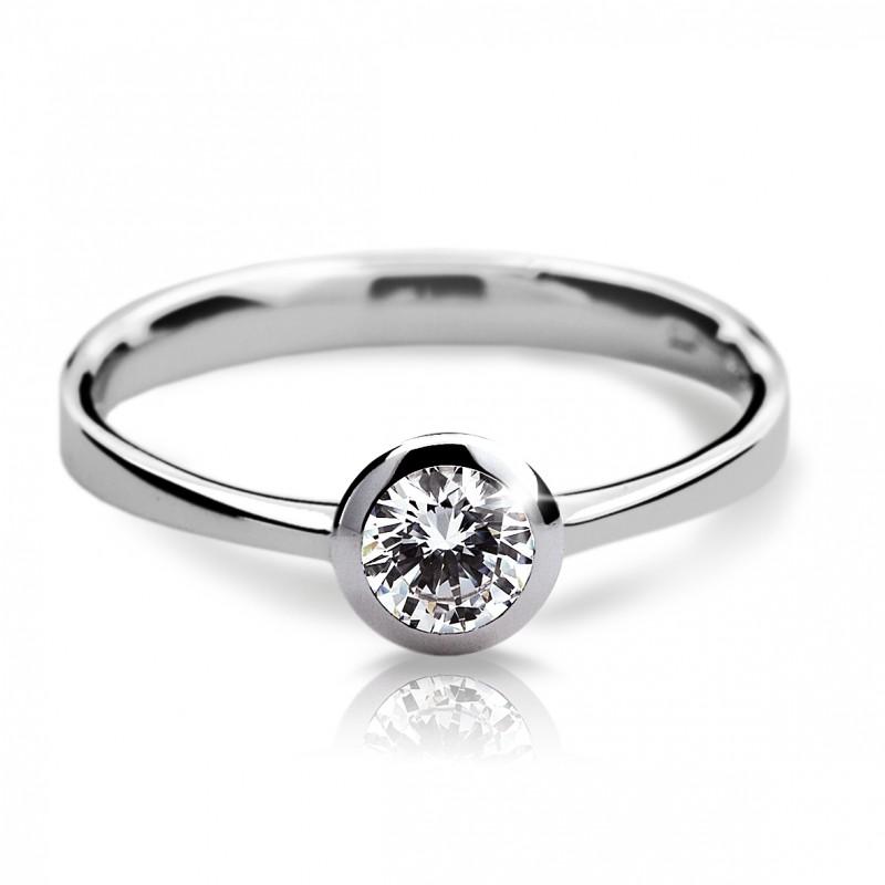 Danfil Zlatý zásnubní prsten DF 1883, bílé zlato, s diamantem
