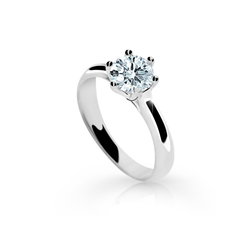 Danfil Zlatý zásnubní prsten DF 1885, bílé zlato, s diamantem