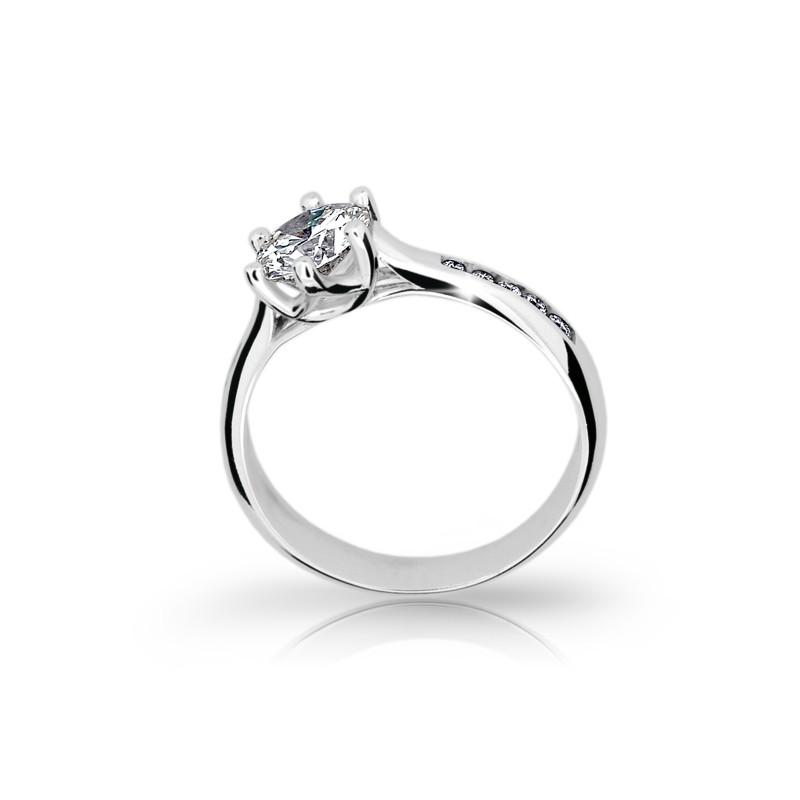 Danfil Zlatý zásnubní prsten DF 1886, bílé zlato, s diamantem