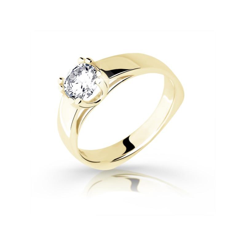 Danfil Zlatý zásnubní prsten DF 1888, žluté zlato, s diamantem