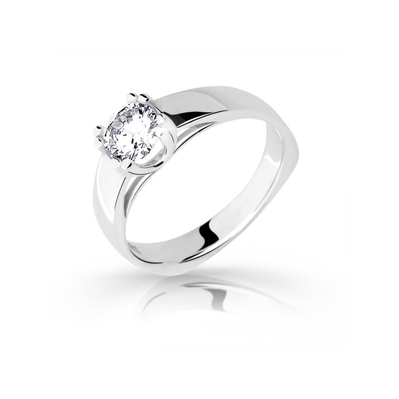 Danfil Zlatý zásnubní prsten DF 1888, bílé zlato, s diamantem