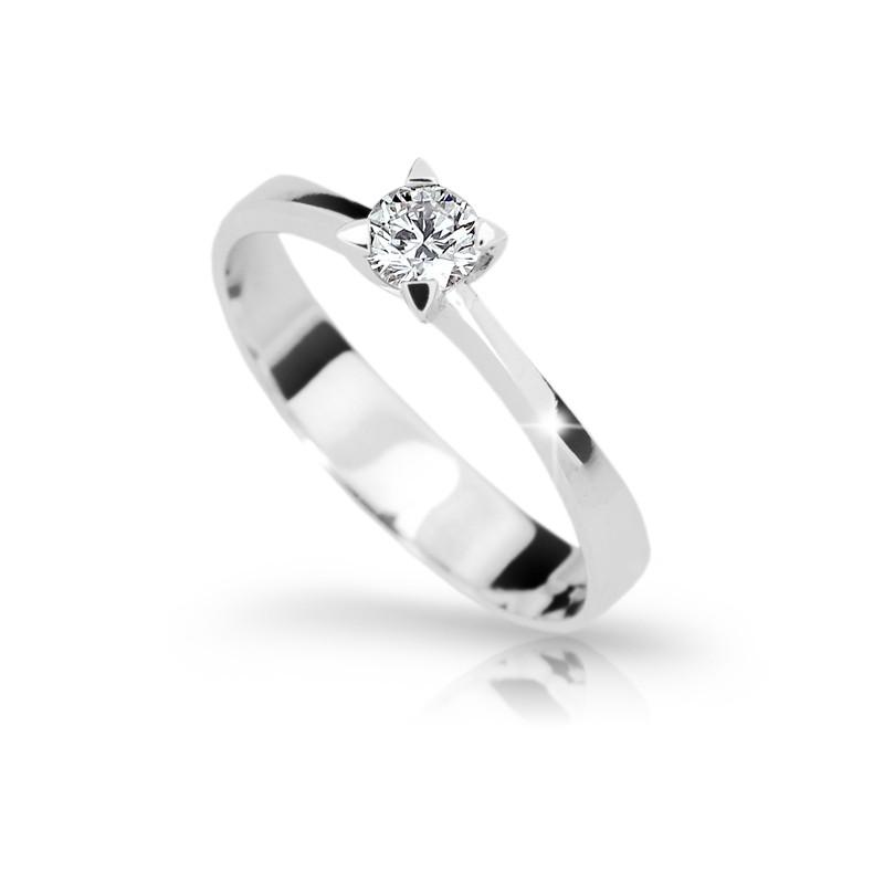 Danfil Zlatý zásnubní prsten DF 1895, bílé zlato, s diamantem