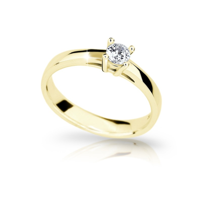 Danfil Zlatý zásnubní prsten DF 1902, žluté zlato, s briliantem