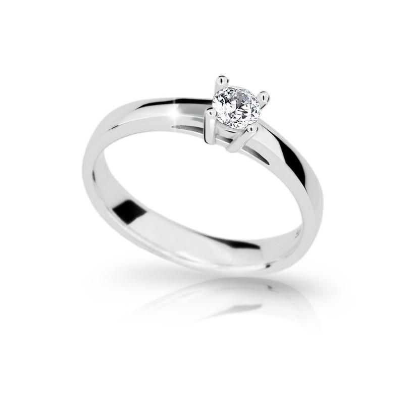 Danfil Zlatý zásnubní prsten DF 1902, bílé zlato, s briliantem