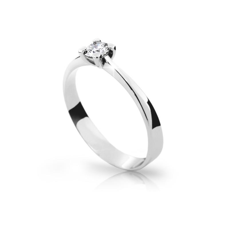 Danfil Zlatý zásnubní prsten DF 1905, bílé zlato, s briliantem