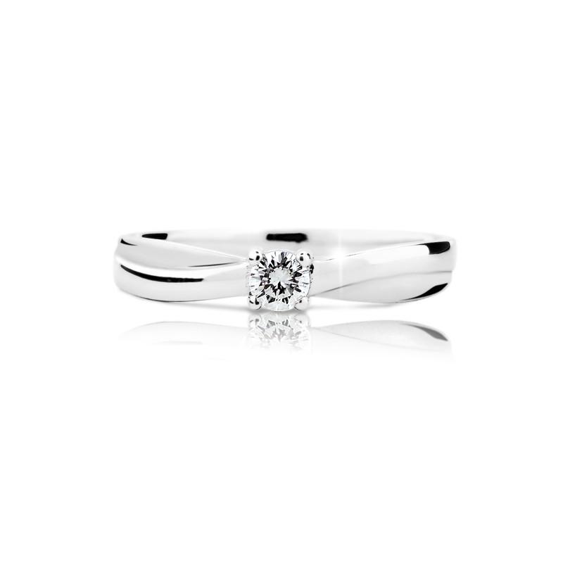 Danfil Zlatý zásnubní prsten DF 1906, bílé zlato, s briliantem