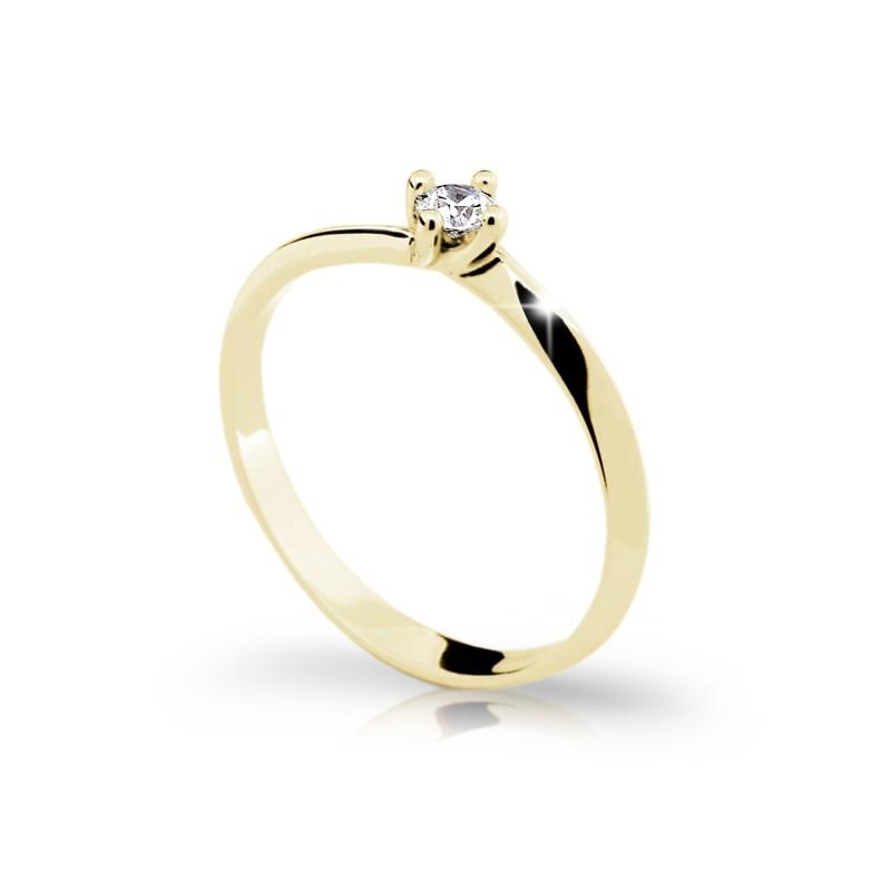 Danfil Zlatý zásnubní prsten DF 1907, žluté zlato, s briliantem