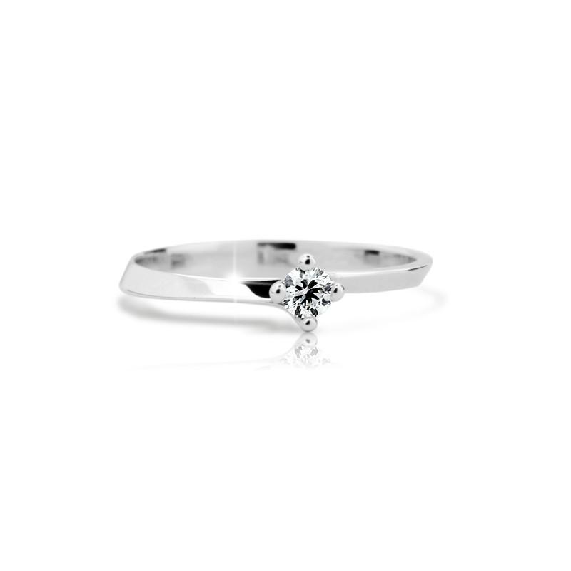 Danfil Zlatý zásnubní prsten DF 1907, bílé zlato, s briliantem