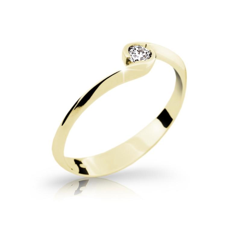 Danfil Zlatý zásnubní prsten DF 1914, žluté zlato, s briliantem