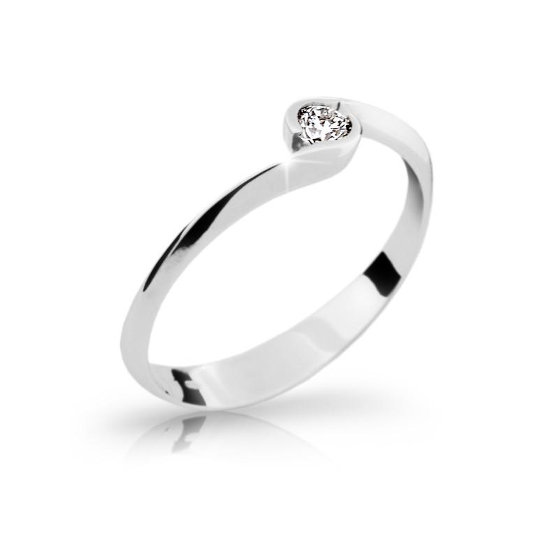 Danfil Zlatý zásnubní prsten DF 1914, bílé zlato, s briliantem