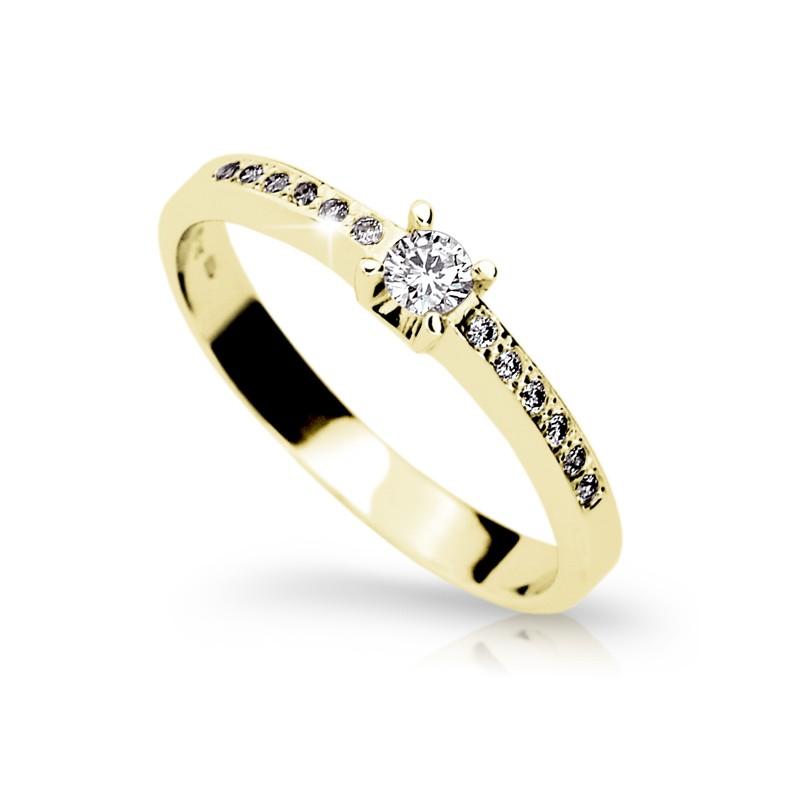 Danfil Zlatý zásnubní prsten DF 1917, žluté zlato, s briliantem