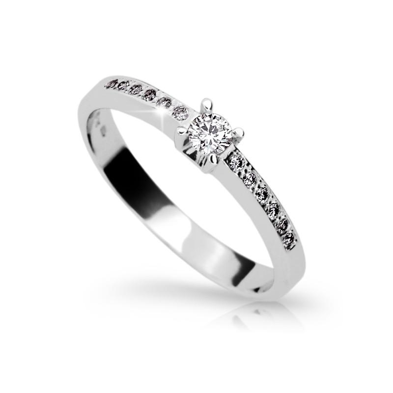 Danfil Zlatý zásnubní prsten DF 1917, bílé zlato, s briliantem