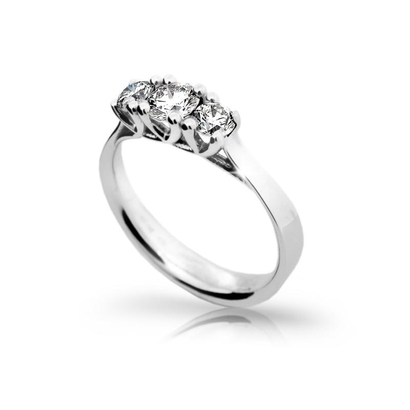 Danfil Zlatý zásnubní prsten DF 1924, bílé zlato, s diamantem