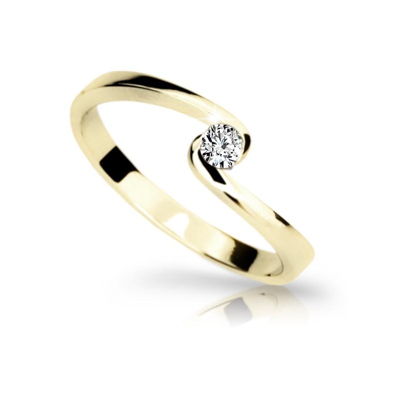 Danfil Zlatý zásnubní prsten DF 1934, žluté zlato, s briliantem