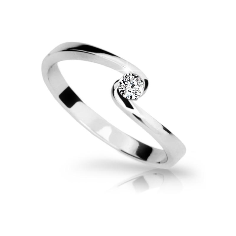 Danfil Zlatý zásnubní prsten DF 1934, bílé zlato, s briliantem