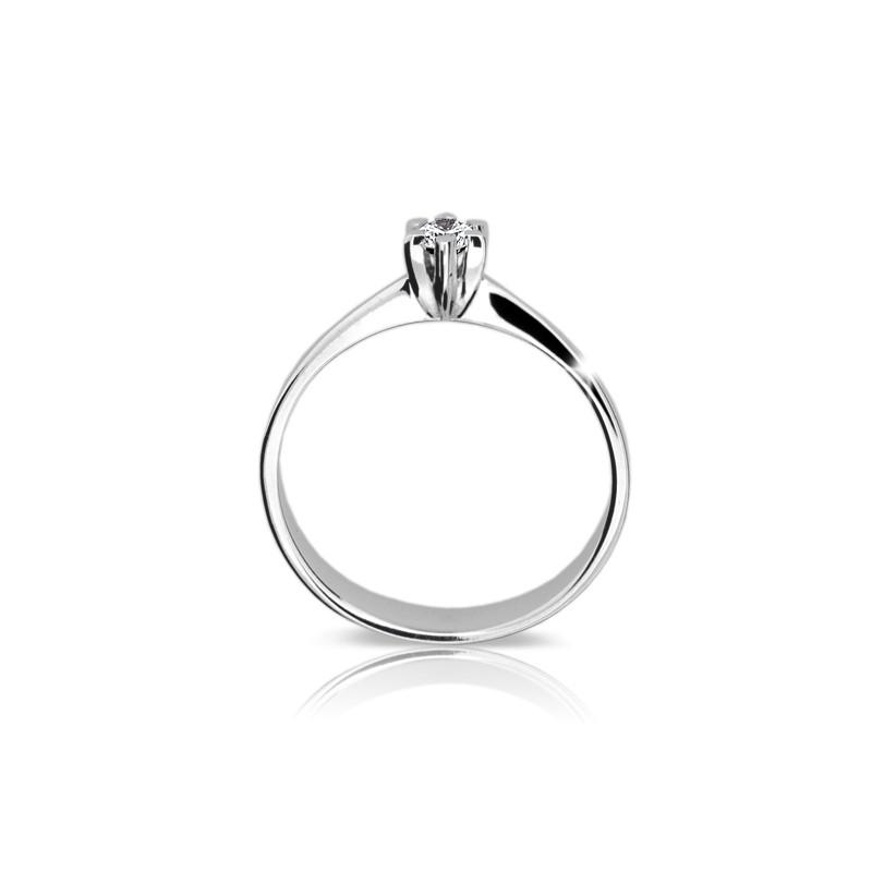 Danfil Zlatý zásnubní prsten DF 1953, bílé zlato, s briliantem