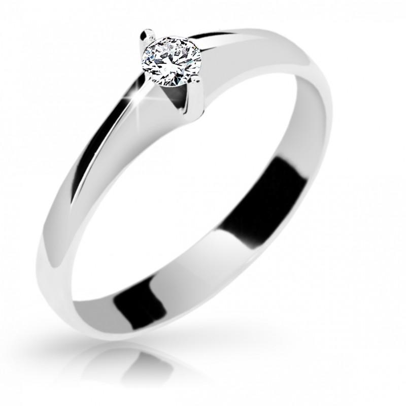 Danfil Zlatý zásnubní prsten DF 1956, bílé zlato, s briliantem