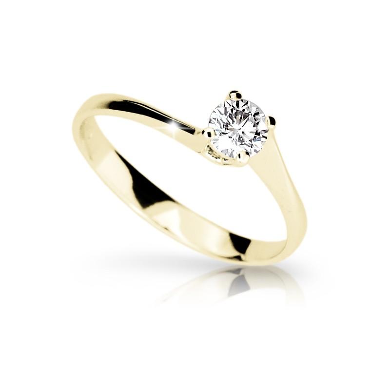 Danfil Zlatý zásnubní prsten DF 1957, žluté zlato, s briliantem