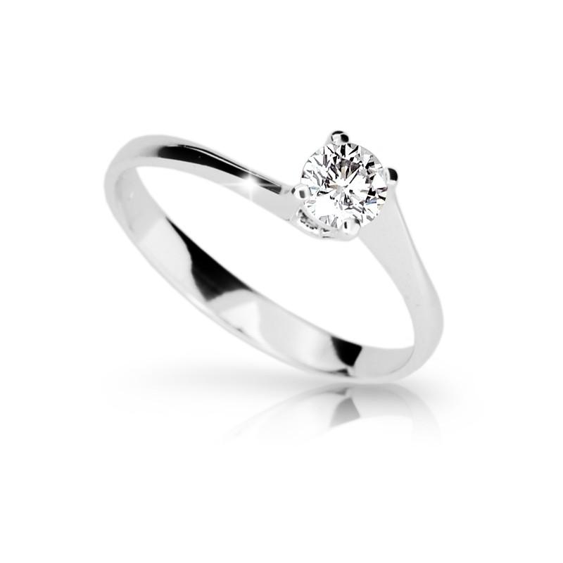 Danfil Zlatý zásnubní prsten DF 1957, bílé zlato, s briliantem