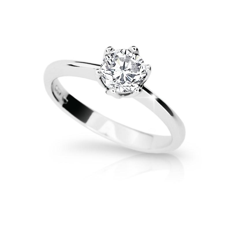 Danfil Zlatý zásnubní prsten DF 1959, bílé zlato, s diamantem