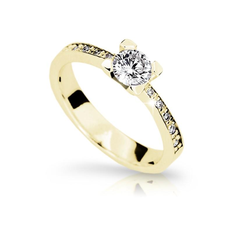 Danfil Zlatý zásnubní prsten DF 1961, žluté zlato, s diamantem