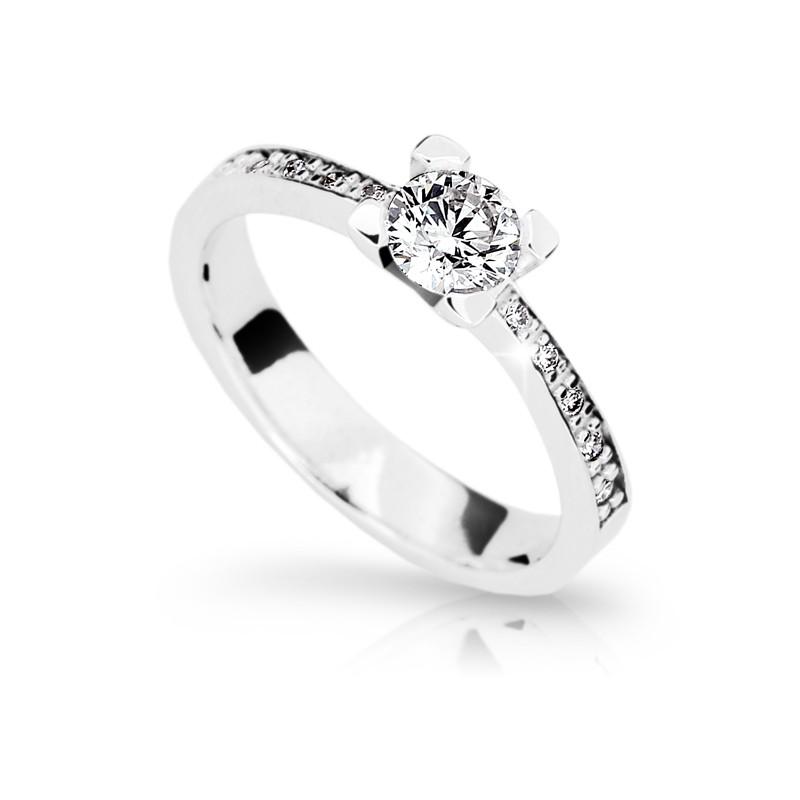 Danfil Zlatý zásnubní prsten DF 1961, bílé zlato, s diamantem