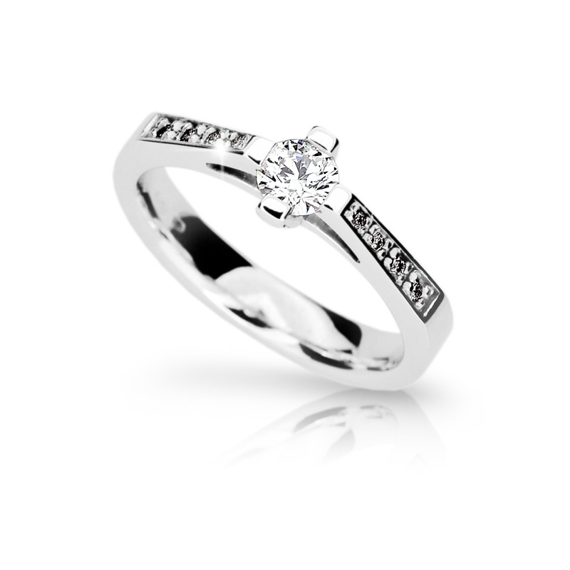 Danfil Zlatý zásnubní prsten DF 1962, bílé zlato, s diamantem