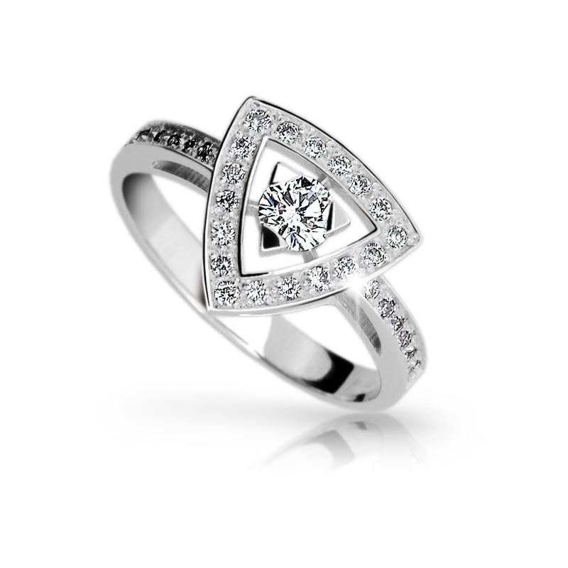 Danfil Zlatý zásnubní prsten DF 1970, bílé zlato, s briliantem